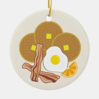 Galletas, tocino y huevo del ornamento del desayun adorno de navidad