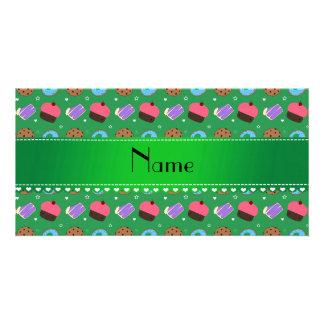Galletas verdes conocidas de la torta de los tarjeta personal