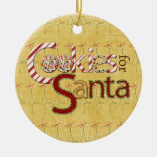 Galletas y caramelo para Papá Noel Adorno Navideño Redondo De Cerámica