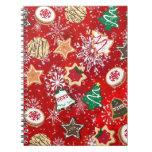 Galletas y copos de nieve del navidad en rojo libros de apuntes