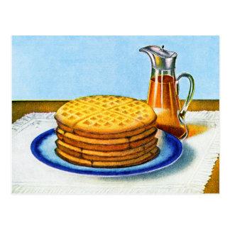 Galletas y jarabe retros del desayuno del vintage tarjetas postales