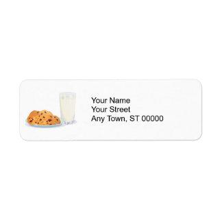 galletas y leche etiqueta de remitente