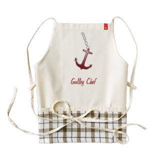 Galley Chef Red Anchor Zazzle HEART Apron