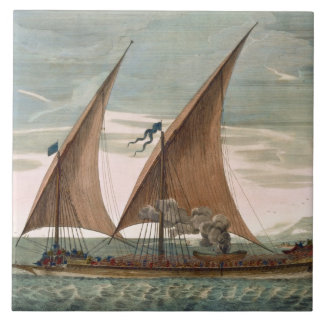 Galley under sail, flying standard of the Commande Ceramic Tile