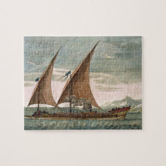 Galley under sail, flying standard of the Commande Jigsaw Puzzle