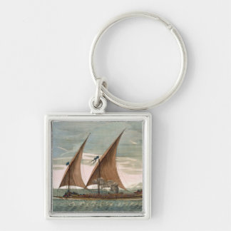 Galley under sail, flying standard of the Commande Keychain