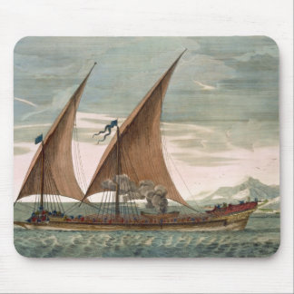 Galley under sail, flying standard of the Commande Mouse Pad