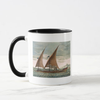Galley under sail, flying standard of the Commande Mug