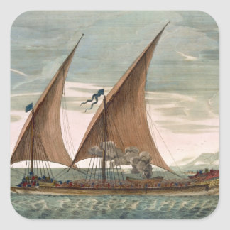 Galley under sail, flying standard of the Commande Square Sticker