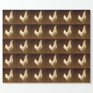 Gallina blanca del gallo del pollo papel de regalo