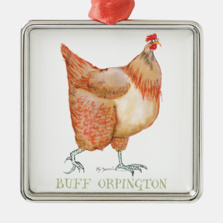 Gallina de color de ante de Orpington, fernandes Adorno Cuadrado Plateado