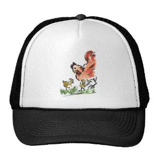 Gallina de la madre y dos polluelos gorras