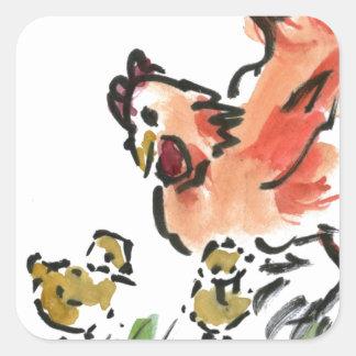 Gallina de la madre y dos polluelos pegatina cuadrada
