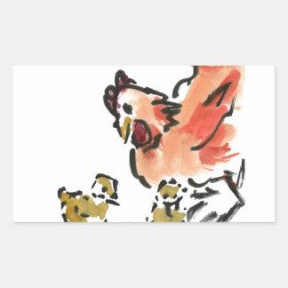 Gallina de la madre y dos polluelos pegatina rectangular
