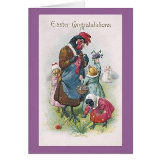 Gallina de la madre y vintage Pascua de los pollue Tarjeton