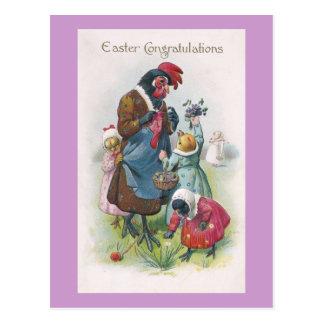 Gallina de la madre y vintage Pascua de los Postal