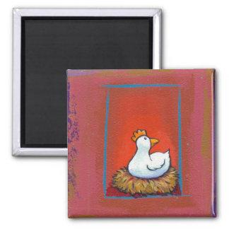 Gallina del arte del pollo que pone la pintura col imán cuadrado