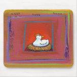 Gallina del arte del pollo que pone la pintura col alfombrillas de raton