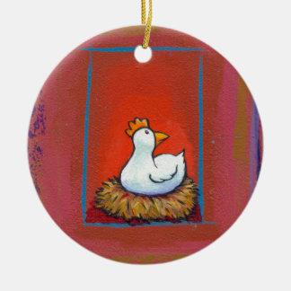 Gallina del arte del pollo que pone la pintura adorno redondo de cerámica
