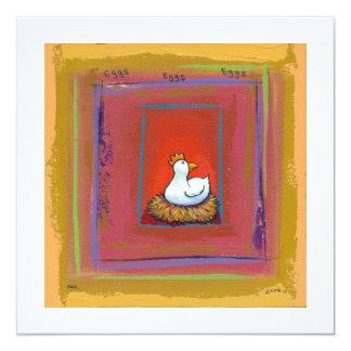 """Gallina del arte del pollo que pone la pintura invitación 5.25"""" x 5.25"""""""