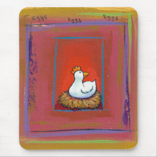 Gallina del arte del pollo que pone la pintura mouse pad