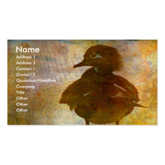 Gallina del pato de madera tarjetas de visita