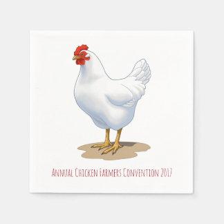 Gallina del pollo de la Leghorn blanca Servilleta Desechable