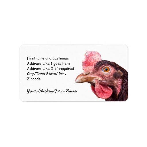Gallina del rojo anaranjado de la imagen del pollo etiquetas de dirección