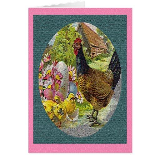 Gallina del vintage de Pascua y tarjeta