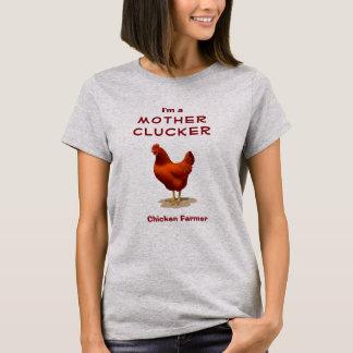 Gallina divertida del rojo del granjero del pollo playera