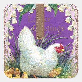 Gallina polluelos y vintage cruzado Pascua Calcomania Cuadradas Personalizadas