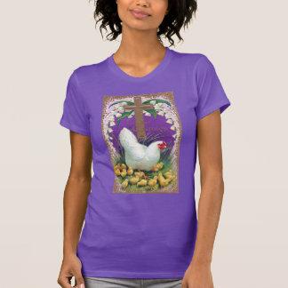 Gallina, polluelos y vintage cruzado Pascua Camisetas