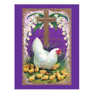 Gallina, polluelos y vintage cruzado Pascua Tarjetas Postales