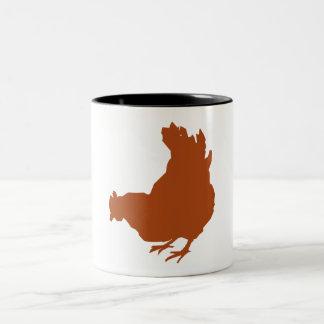 Gallina roja del pollo taza de café de dos colores
