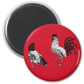 Gallina y gallo imán redondo 5 cm