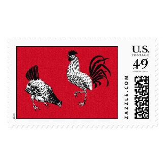 Gallina y gallo sello