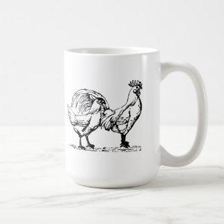Gallina y gallo taza de café