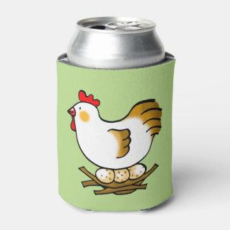 gallina y huevos del pollo de la granja enfriador de latas