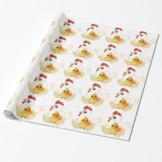 Gallina y pollo del dibujo animado papel de regalo