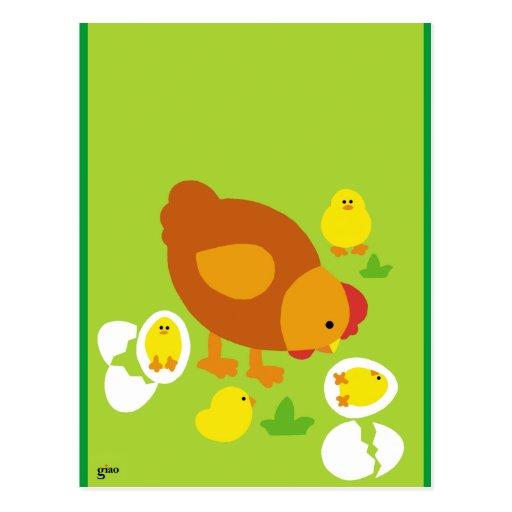 Gallina y pollos tarjeta postal