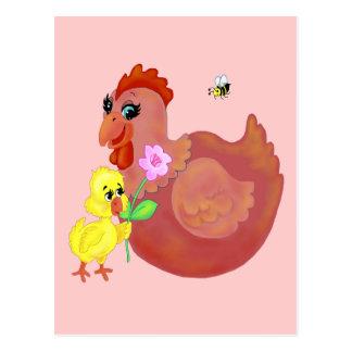 Gallina y polluelo postal