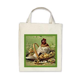 Gallina y polluelos de Pascua del vintage en cesta Bolsa