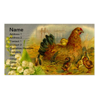 Gallina y polluelos del vintage tarjeta de visita