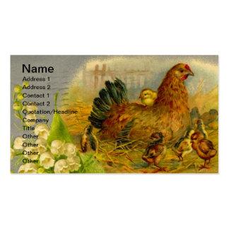 Gallina y polluelos del vintage tarjetas de visita