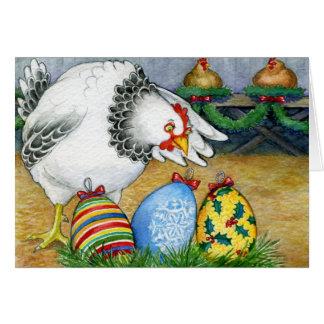 Gallina y sus huevos del navidad tarjeta de felicitación