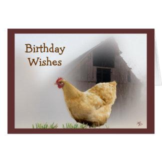 Gallina y tarjeta de cumpleaños vieja del granero