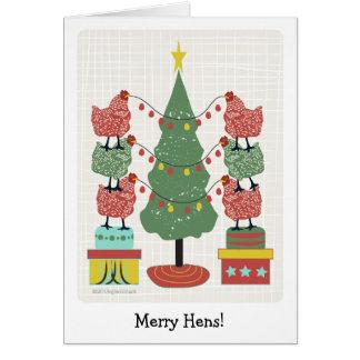 gallinas contemporáneas que adornan el árbol con l tarjetas
