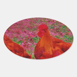 Gallinas de Brown en la hierba púrpura Pegatina Ovalada