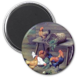 Gallinas de la cesta del nabo del gallo imán redondo 5 cm