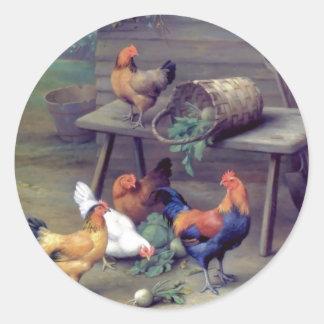 Gallinas de la cesta del nabo del gallo pegatina redonda